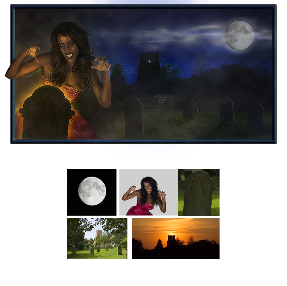 Digital art vampire graveyard and moon picture